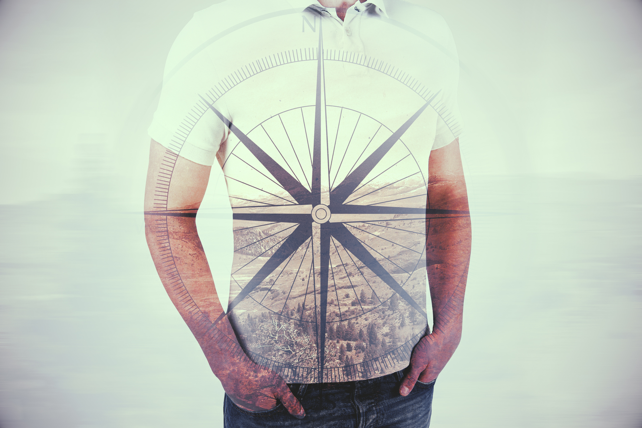 Guy with compass